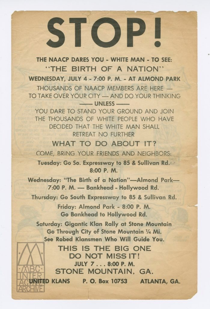 312 D.W.Griffith, Birth of a Nation, 1915. Anti-NAACP flyer, Atlanta, 1968. USflyer