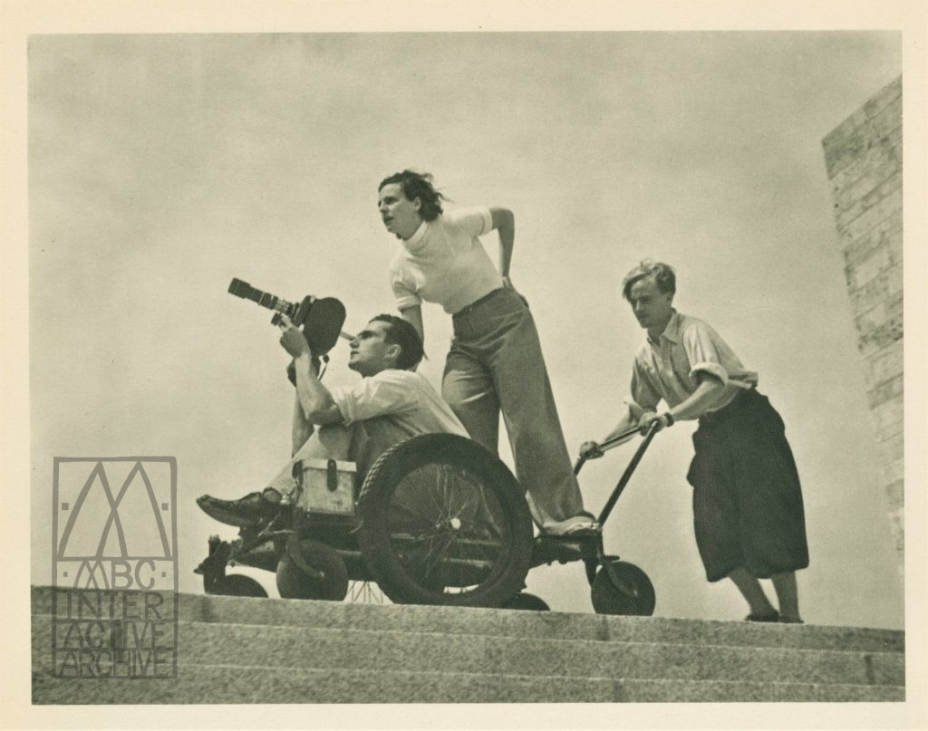 1 Leni Riefenstahl during filming of Olympiad, 1935. Riefenstahl supervised and printed 1936. Gphoto