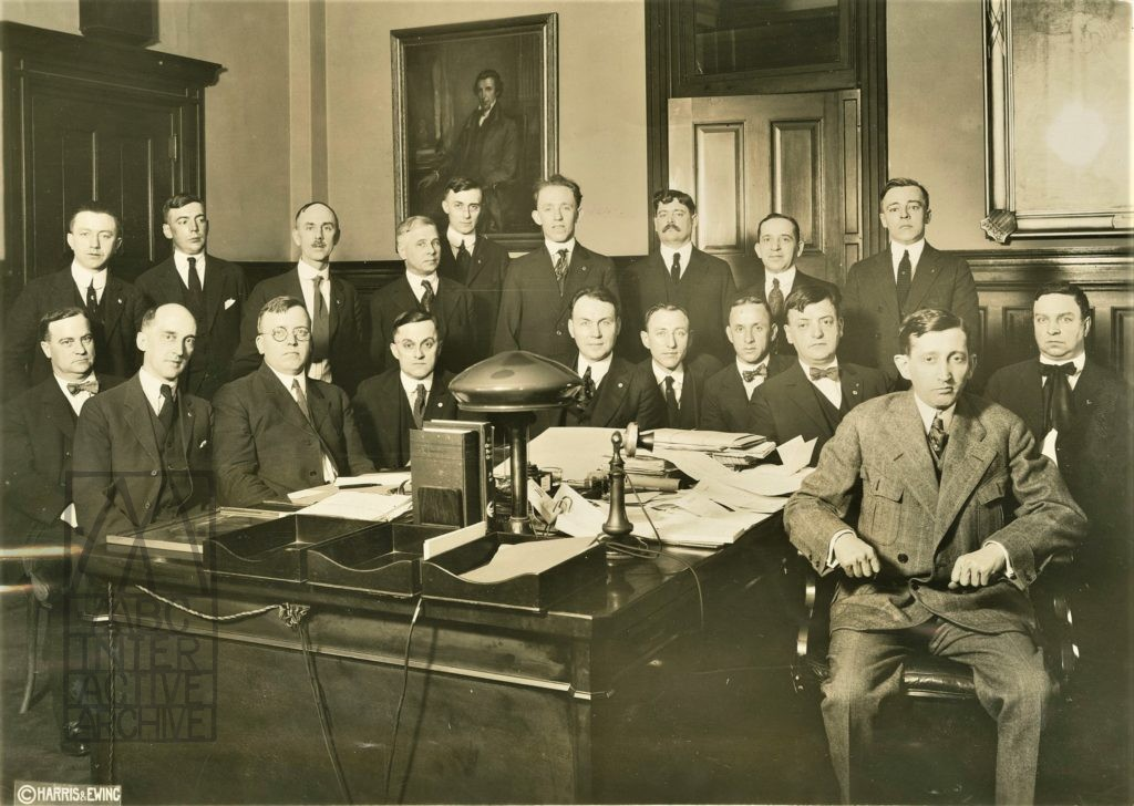1 Postmaster General Will Hays, right, front, with postmaster staff, 1921. USstill
