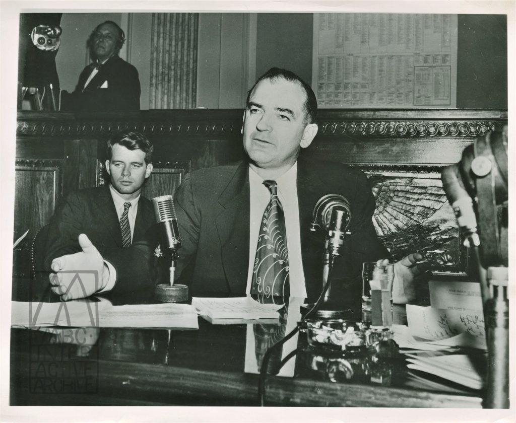2 Senator Joseph McCarthy with Senator Bobby Kennedy, UStill 1953.