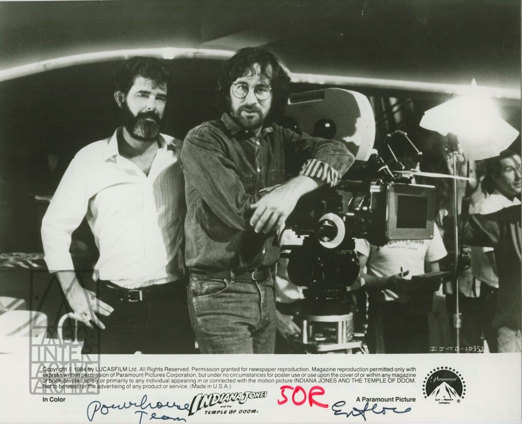 1 George Lucas and Steven Spielberg on the set of Indian Jones and the Temple of Doom, 1984. USstill