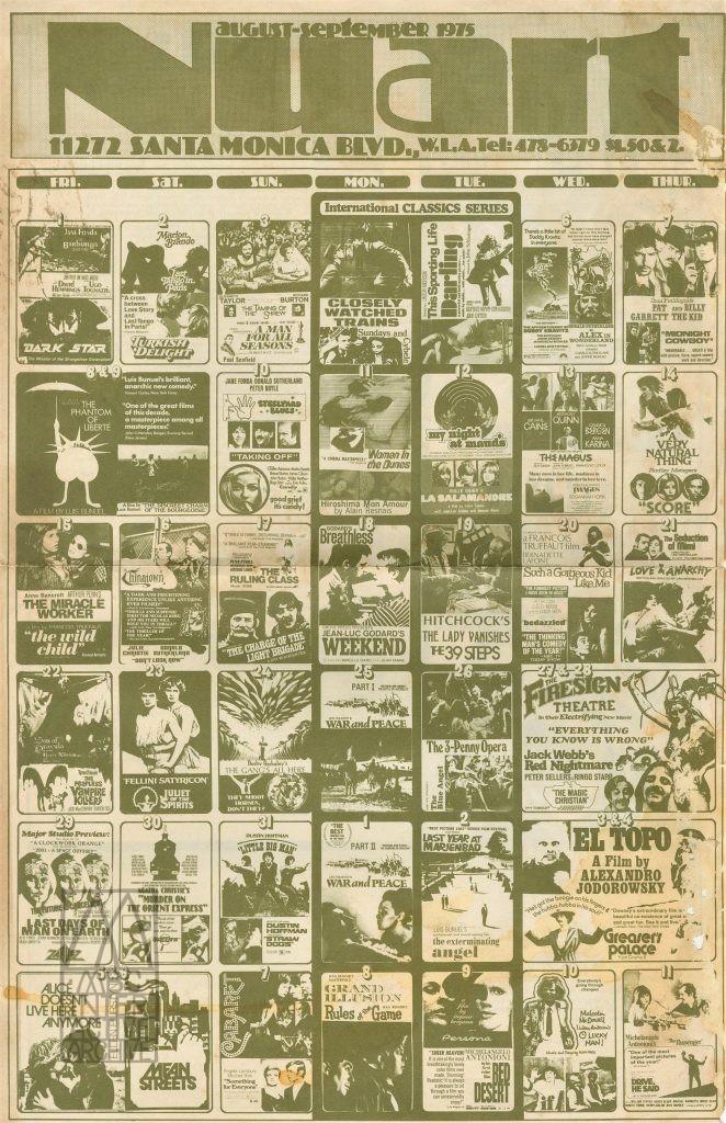 368 Nuart Cinema, Repertory Cinema calendar, 1975. UScal