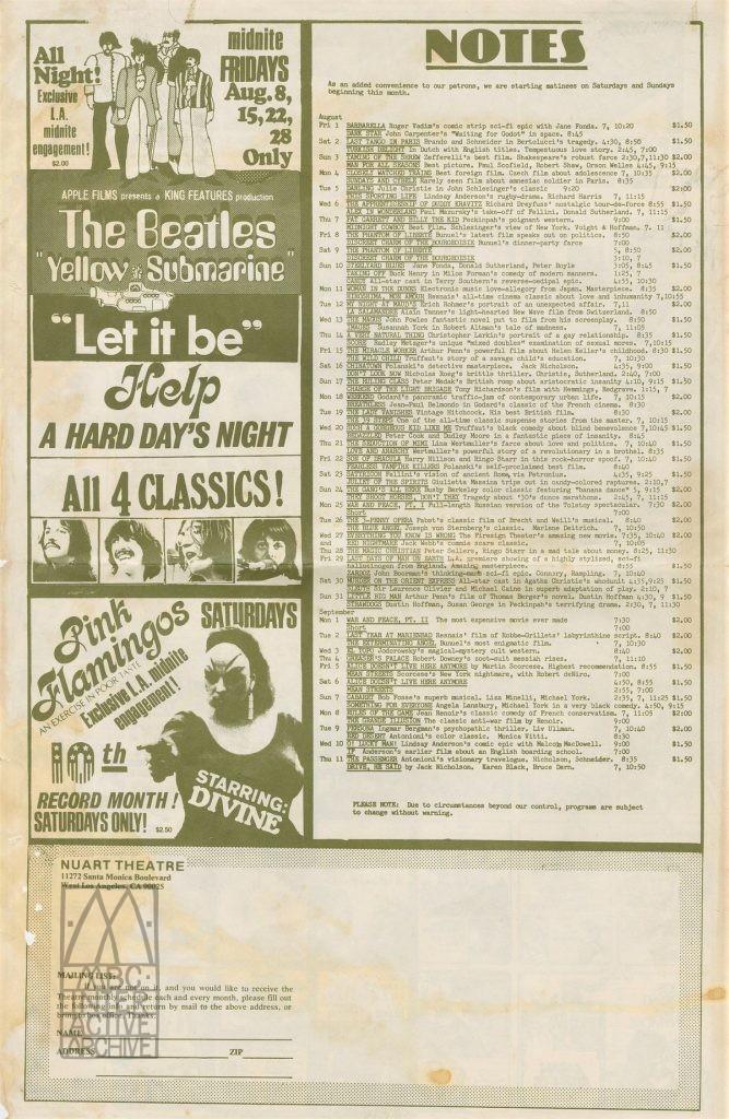 368b Nuart Cinema, Repertory Cinema calendar, 1975. UScal