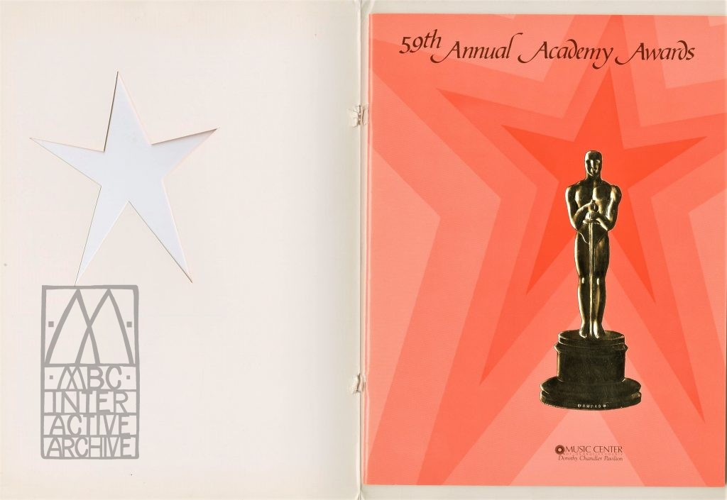323b 59th Academy Awards, 1986. USp Autographed by Oliver Stone